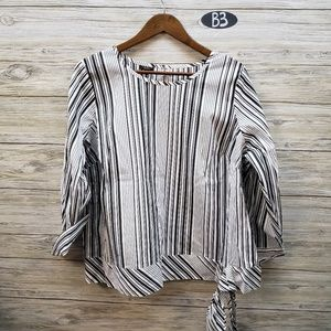 Talbots Vertical Striped Charcoal & White Blouse